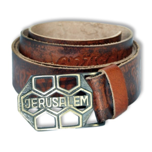 Wide Jerusalem leather Belt