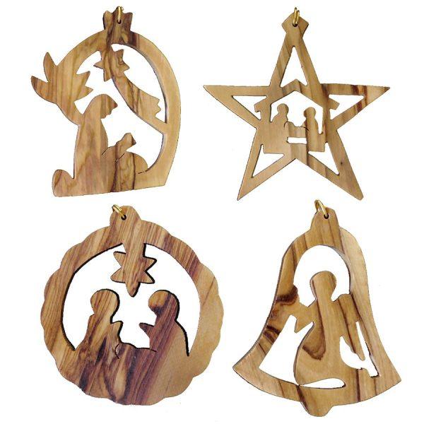 Decorative Olive Wood Christmas Ornaments – Set of 4