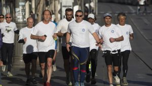 Jerusalem Mayor Nir Barkat (third from left)