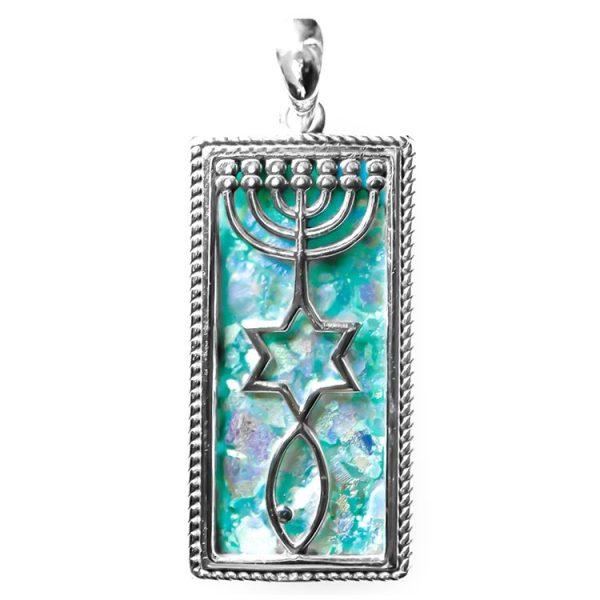 Messianic Seal Pendant – Silver & Roman Glass