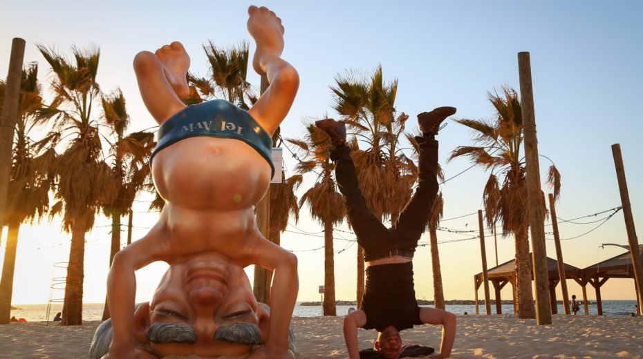 sculpture of first Israeli prime minister Ben Gurion, on the beach
