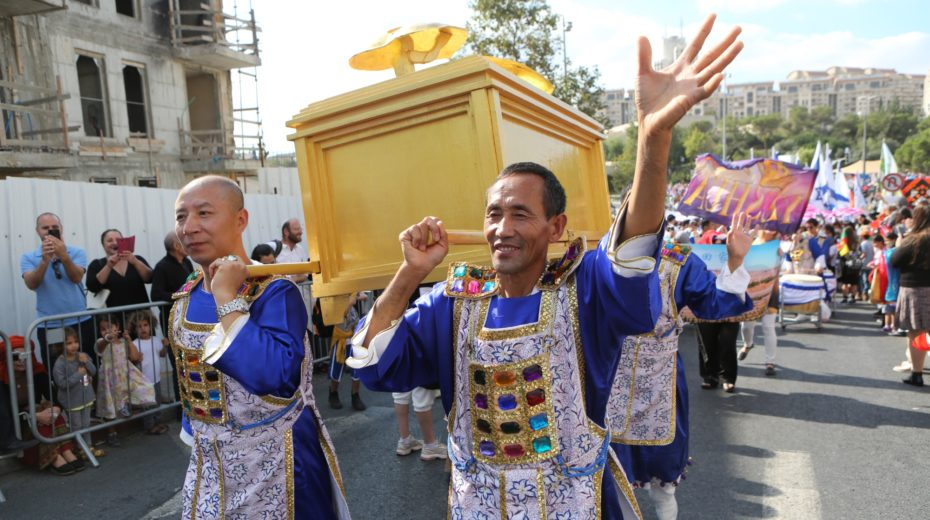 A replica of the Ark of the Covenant carried through Jerusalem by Christian supporters.