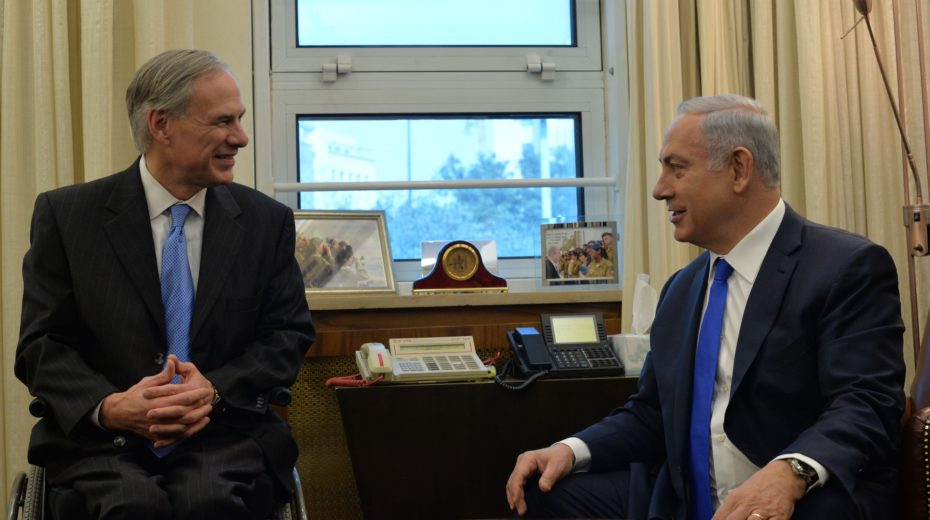Texas Governor Abbott meets with Israel PM Netanyahu.