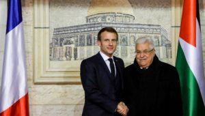 Macron meets with Abbas, a notorious denier of the Holocaust.
