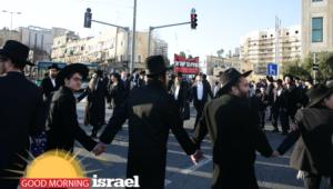 Orthodox Jews protest against IDF service in Jerusalem.