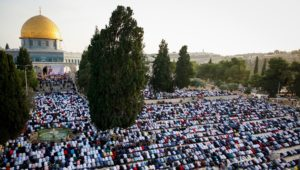 Muslims pray, and incite violence, atop the Temple Mount.