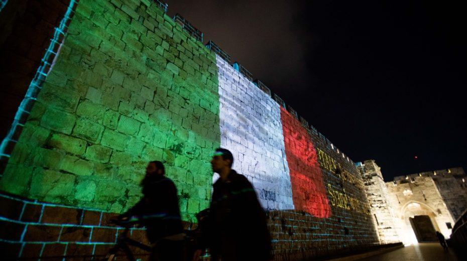Israel sends love to Italy during coronavirus crisis.