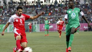 Abdallah Jaber playing for the Palestinian national team.