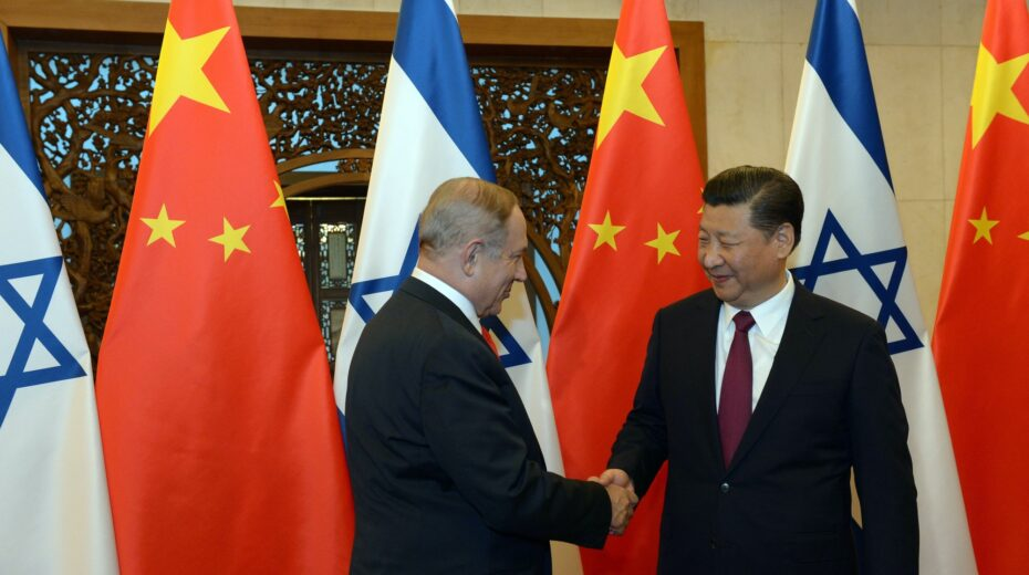 Israel Prime Minister Benjamin Netanyahu and China President Xi Jinping in Beijing.