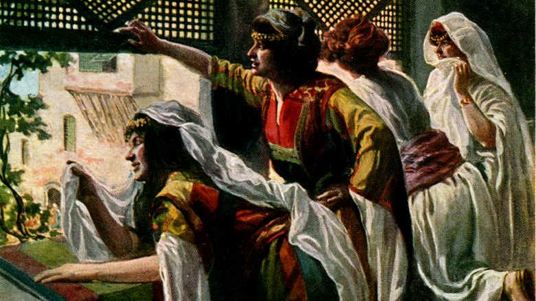 Michal, daughter of Saul, mocking King David from the window.