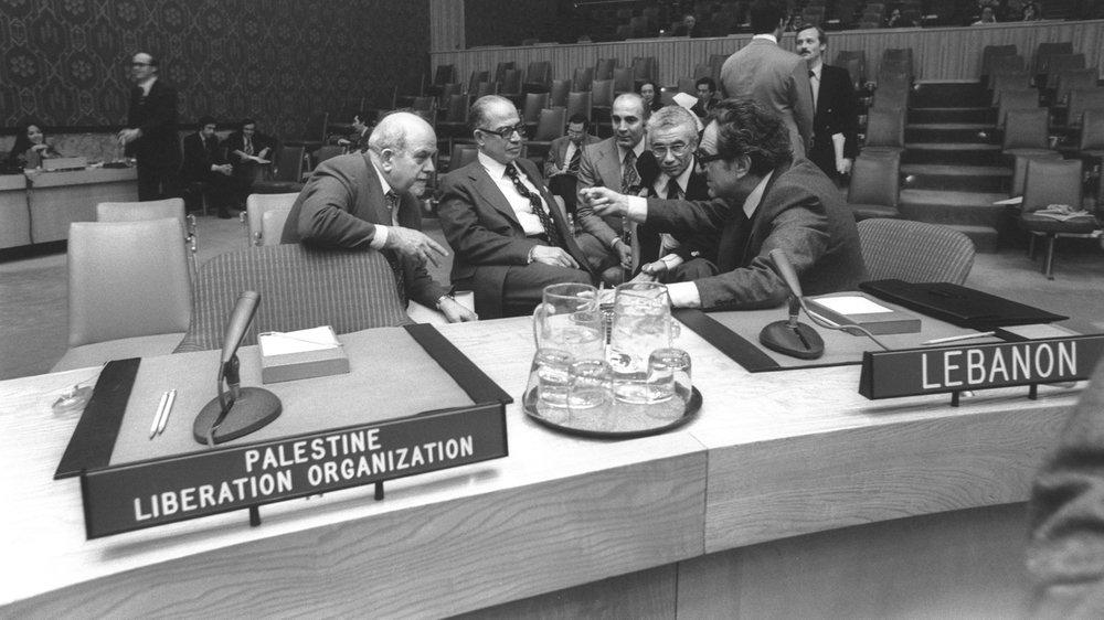 Lebanese and PLO delegates argue at UN.