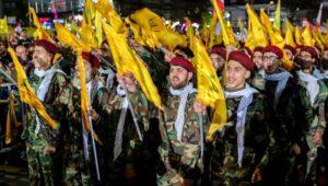 Hezbollah troops rally against Israel in Beirut.