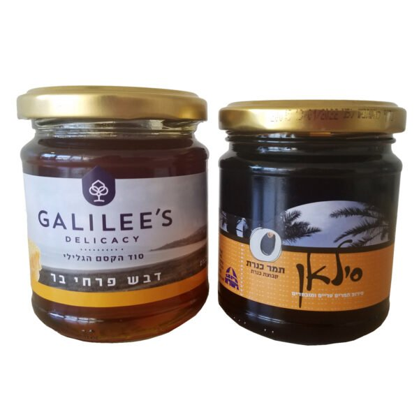"""Natural""""silan""""date honey and wildflower bee honey as a set of 2"""