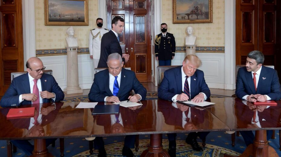 Signing the Abraham Accords.
