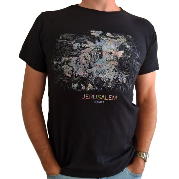 "T-Shirt Luftbildaufnahme ""Jerusalem Karte"""