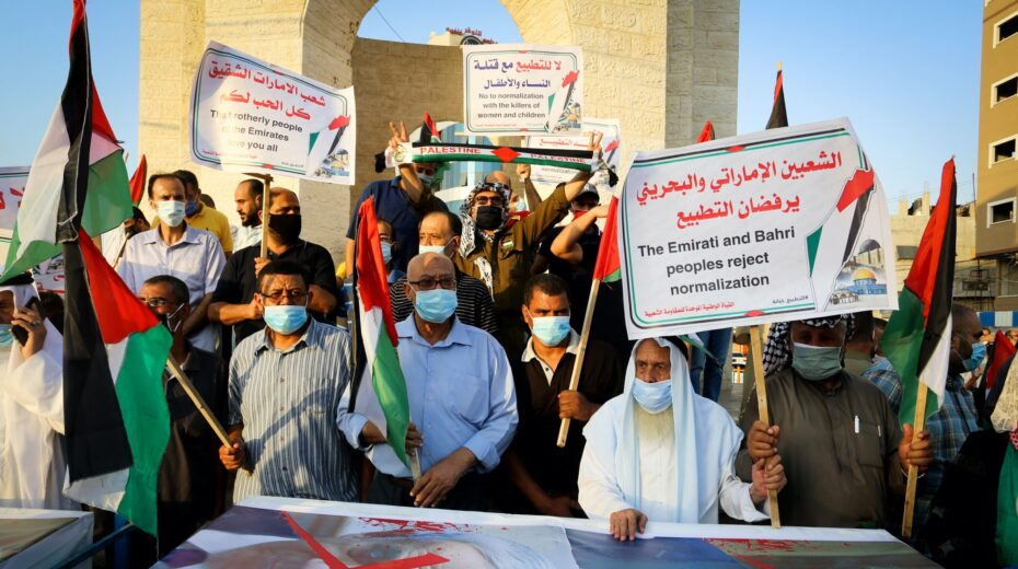 Palestinians protest normalization deals