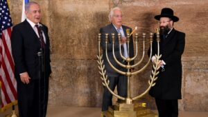 Netanyahu lights Hanukkah menorah at Western Wall
