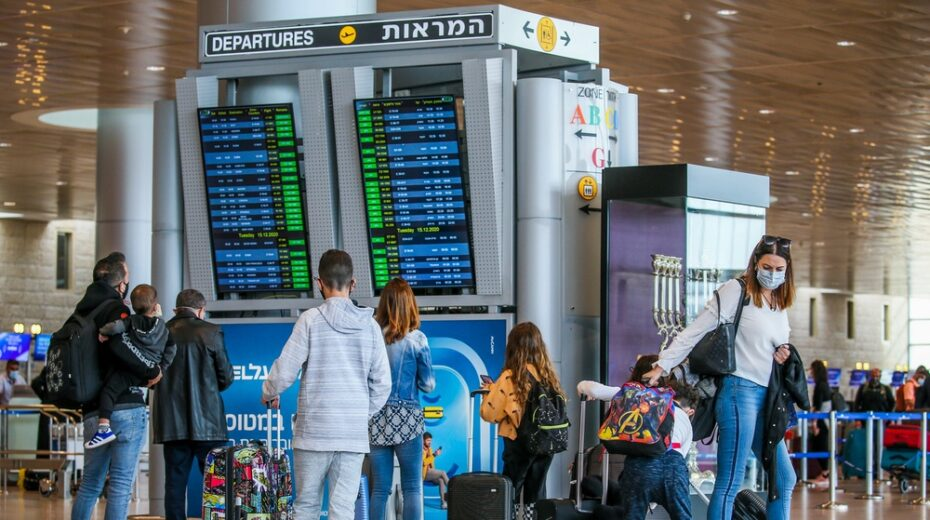Israelis check departure times at Ben Gurion Airport