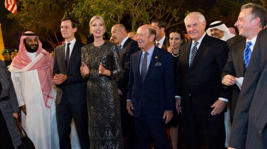 Jared Kushner and his wife Ivanka Trump with Saudi Crown Prince Mohammed Bin Salman