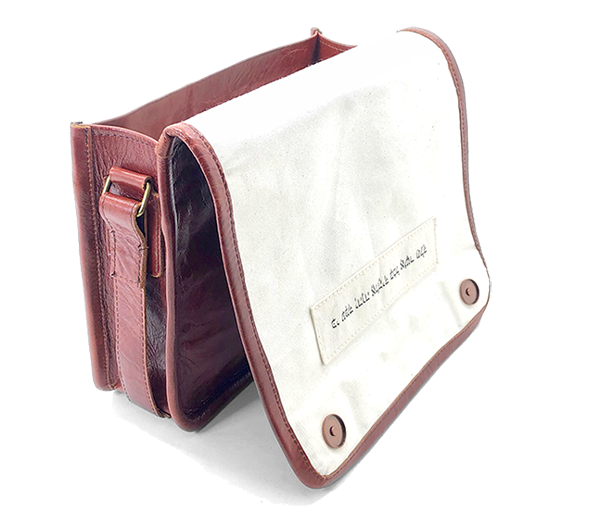 Handmade leather bag with personal Bible verse in Hebrew