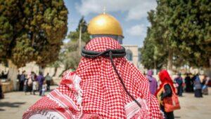 Jordanian Muslims atop the Temple Mount