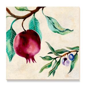 Ceramic art tile with pomegranate motif