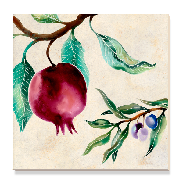 Ceramic art tile with pomegranate motif