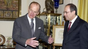 Prince Philip with Israeli Foreign Minister Silvan Shalom