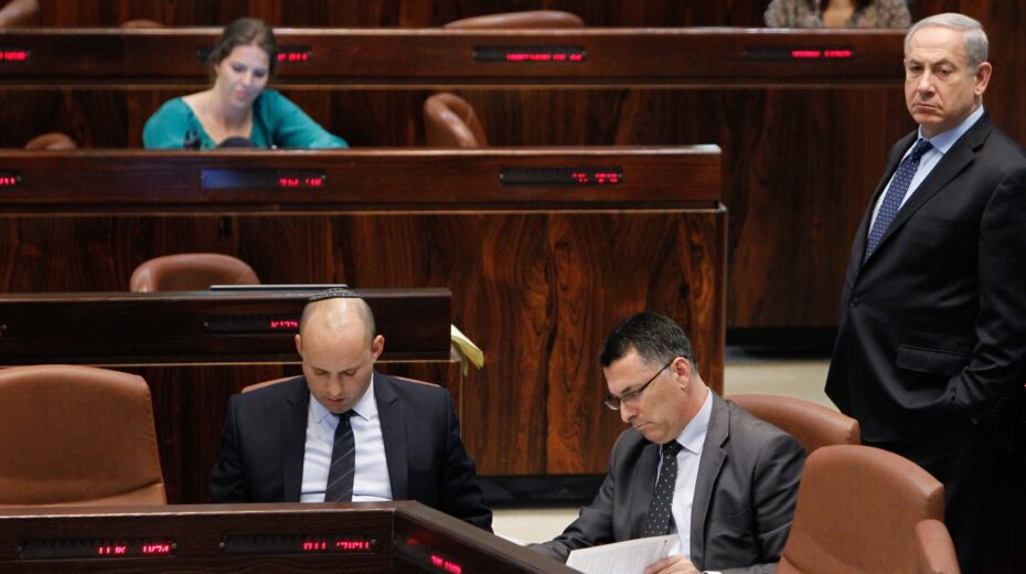 """Netanyahu looks on as Bennett and Sa'ar """"conspire"""""""