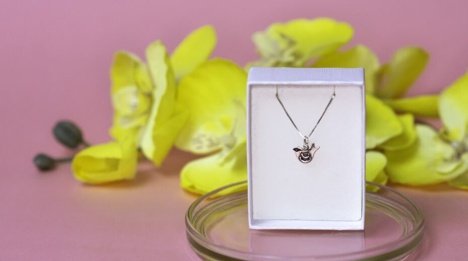 """Silver necklace with a pendant of the """"dove of peace"""""""