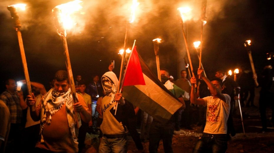Palestinians protest against their own regime.