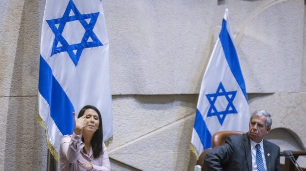 A brief, historic respite from the madness as the first deaf Member of Knesset, Shirley Pinto, delivers her maiden address in sign language.