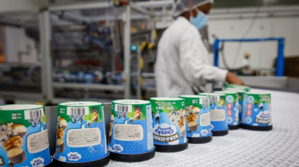 Workers at the Ben and Jerry's factory near Kiryat Malakhi as the ice cream boycott continues to stir up more that sweet dreams for the company on July 21, 2021.