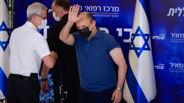 Israeli prime minister naftali Bennett recieves his third dosage of the Covid19-vaccine at the Meir hospital in Kfar Saba, on August 20, 2021. Bennett is the first world leader to receive 3 doses.