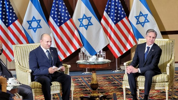 Prime Minister Naftali Bennett meets with Secretray of State Anthony Blinken in Washington on Thursday, August 26, 2021