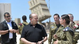 Prime Minister Naftali Bennett chatting with soldiers manning the Iron Dome batteries protecting Israel from Gaza rockets.