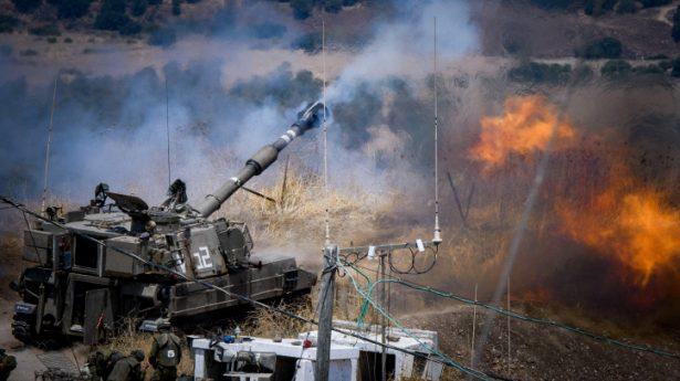 IDF Artillery Corps seen firing into Lebanon in response to Hezbollah rocket attacks.