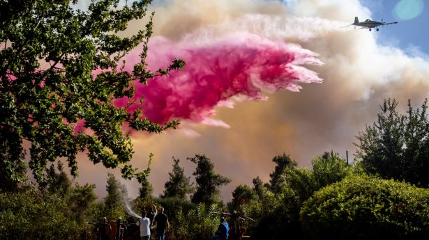 While firefighters and citizens fought valiantly to keep the fire out of residential areas, a number of homes were burned in the community of Ramat Raziel.