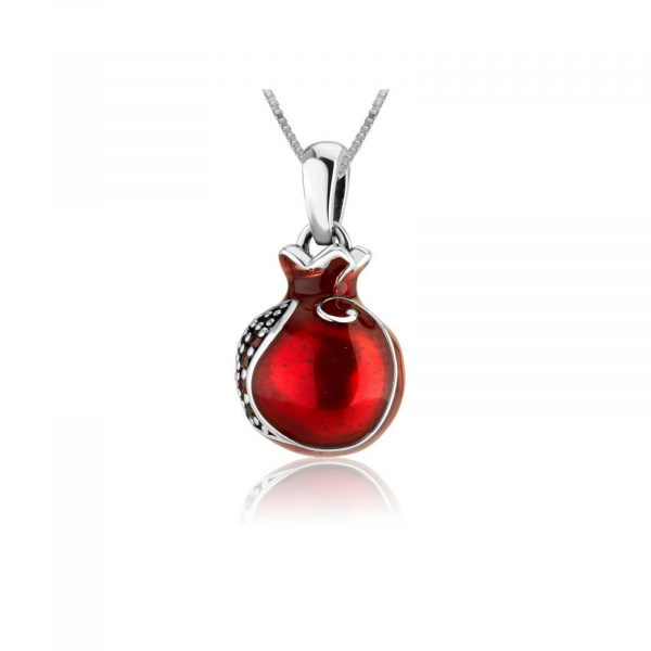 Silver necklace with red pomegranate pendant