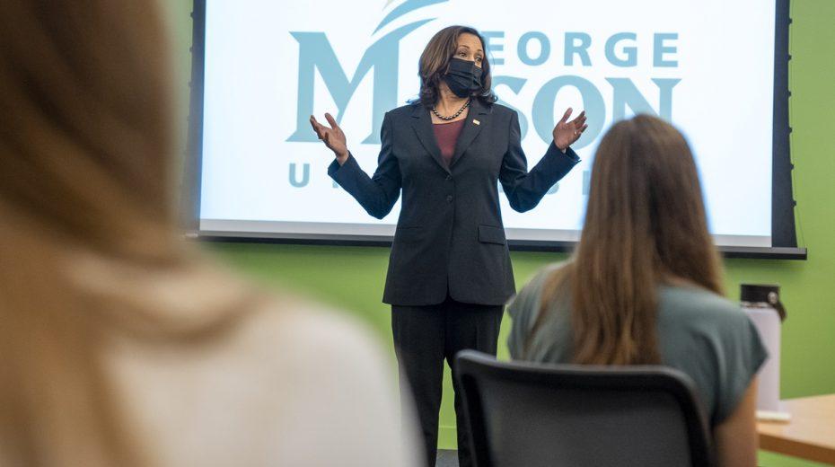 VP Kamala Harris addressing American students at George Mason University.