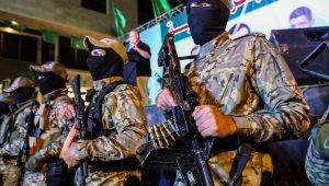 Hamas gunmen in a show of force in Gaza.