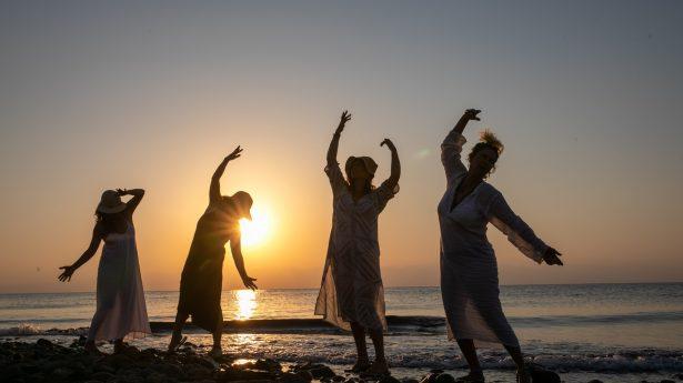 Sunrise exercise on the beach.