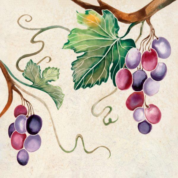Hand-painted art tile with grapevine motif from Ein Kerem-Jerusalem